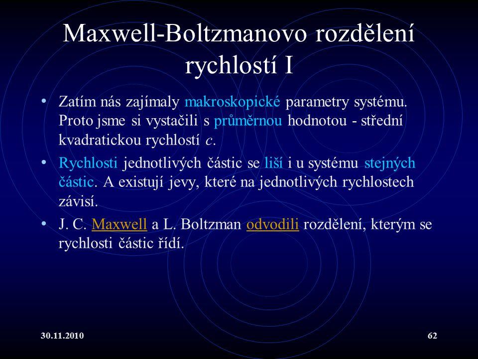 30.11.201062 Maxwell-Boltzmanovo rozdělení rychlostí I Zatím nás zajímaly makroskopické parametry systému.