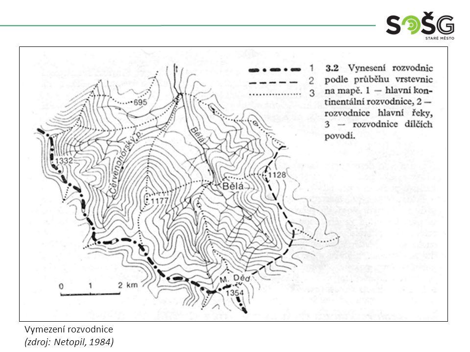 Problematické řešení orografické rozvodnice a odlišné geologické stavby (zdroj: Netopil, 1984)