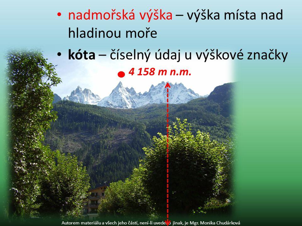 nadmořská výška – výška místa nad hladinou moře kóta – číselný údaj u výškové značky Autorem materiálu a všech jeho částí, není-li uvedeno jinak, je Mgr.