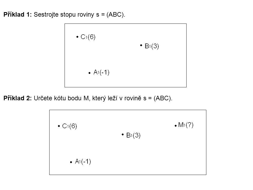 Příklad 1: Sestrojte stopu roviny s = (ABC). Příklad 2: Určete kótu bodu M, který leží v rovině s = (ABC).