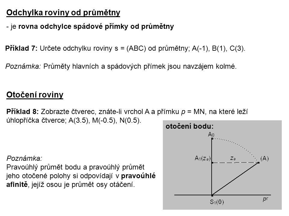 otočení bodu: Odchylka roviny od průmětny - je rovna odchylce spádové přímky od průmětny Příklad 7: Určete odchylku roviny s = (ABC) od průmětny; A(-1