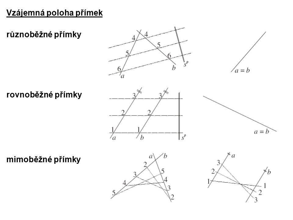 Vzájemná poloha přímek různoběžné přímky rovnoběžné přímky mimoběžné přímky