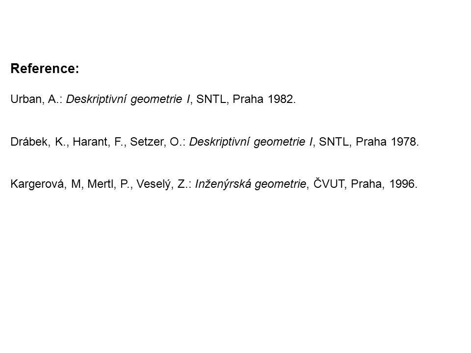Reference: Urban, A.: Deskriptivní geometrie I, SNTL, Praha 1982. Drábek, K., Harant, F., Setzer, O.: Deskriptivní geometrie I, SNTL, Praha 1978. Karg