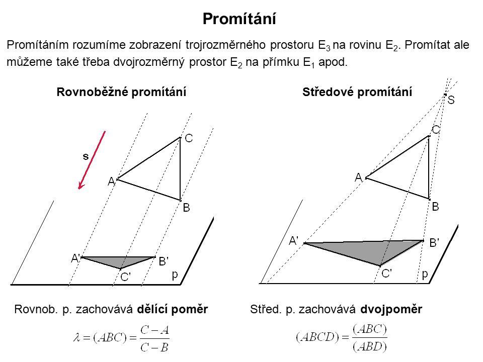 Promítání Promítáním rozumíme zobrazení trojrozměrného prostoru E 3 na rovinu E 2. Promítat ale můžeme také třeba dvojrozměrný prostor E 2 na přímku E