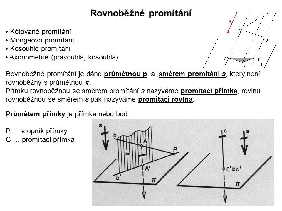 Rovnoběžné promítání Kótované promítání Mongeovo promítání Kosoúhlé promítání Axonometrie (pravoúhlá, kosoúhlá) Rovnoběžné promítání je dáno průmětnou