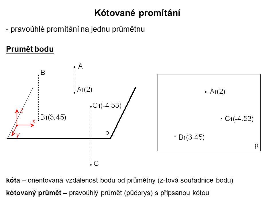 Kótované promítání - pravoúhlé promítání na jednu průmětnu kóta – orientovaná vzdálenost bodu od průmětny (z-tová souřadnice bodu) kótovaný průmět – p