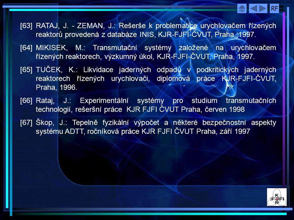 RF [63]RATAJ, J. - ZEMAN, J.: Rešerše k problematice urychlovačem řízených reaktorů provedená z databáze INIS, KJR-FJFI-ČVUT, Praha, 1997. [64]MIKISEK