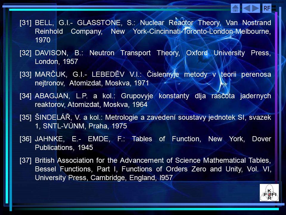 RF [31] BELL, G.I.- GLASSTONE, S.: Nuclear Reactor Theory, Van Nostrand Reinhold Company, New York-Cincinnati-Toronto-London-Melbourne, 1970 [32] DAVI