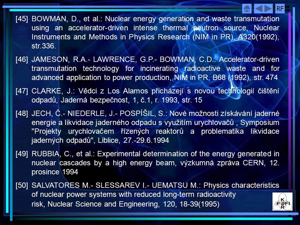 RF [51] HRON, M.: A Preliminary Design Concept of the Experimental Assembly LA-0 for Accelerator-Driven Transmuter Reactor/Blanket Core Neutronics and Connected Technology Testing, preprint LA-UR 1995 [52]ZEMAN, J.- HRON, M.- TUČEK, K.- HEŘMANSKÝ, B.- POSPÍŠIL, S.- KUBAŠTA, J.- MIKISEK, M.: Accelerator Driven Reactors in Radioactive Waste and Spent Fuel Management, CTU Workshop 96 , Brno, Jan 22 ‑ 24, 1996 [53]MATĚJKA, K.