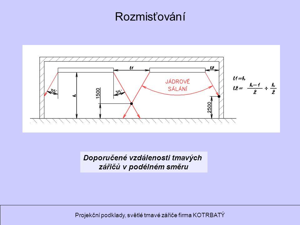 Ondrej.Hojer@fs.cvut.cz Sálavé a průmyslové vytápění Doporučené vzdálenosti tmavých zářičů v podélném směru Rozmisťování Projekční podklady, světlé tmavé zářiče firma KOTRBATÝ