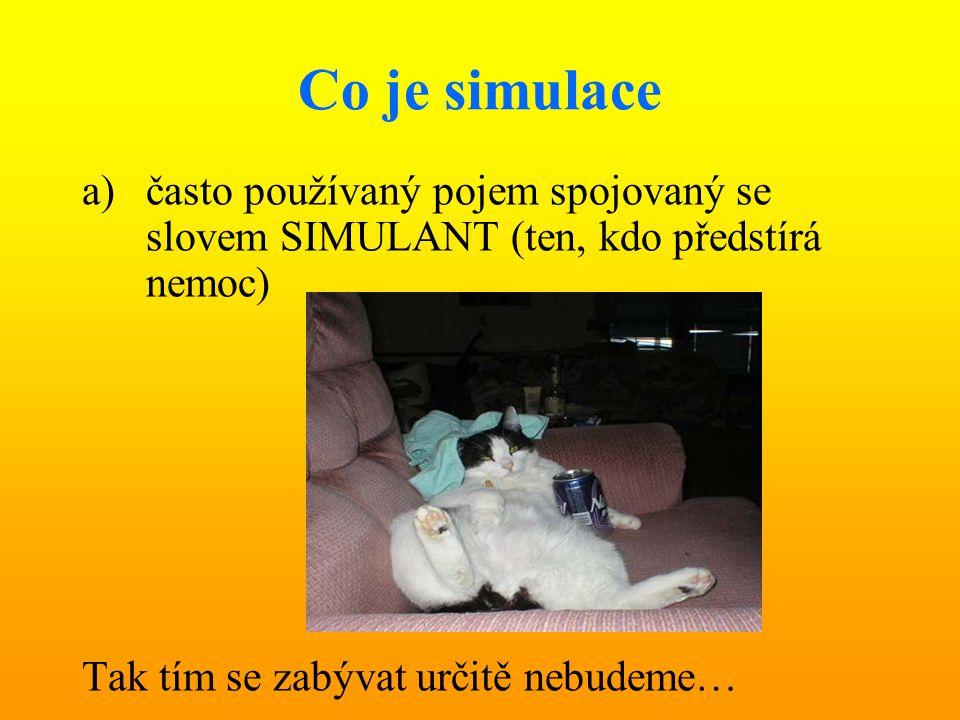 Co je simulace a)často používaný pojem spojovaný se slovem SIMULANT (ten, kdo předstírá nemoc) Tak tím se zabývat určitě nebudeme…