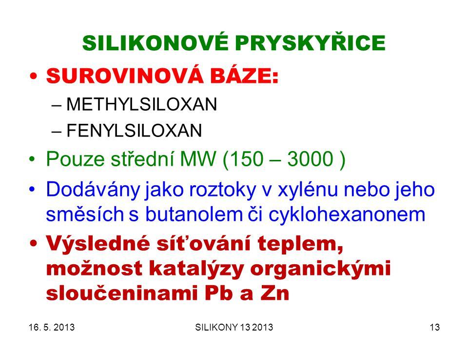 SILIKONOVÉ PRYSKYŘICE SUROVINOVÁ BÁZE: –METHYLSILOXAN –FENYLSILOXAN Pouze střední MW (150 – 3000 ) Dodávány jako roztoky v xylénu nebo jeho směsích s