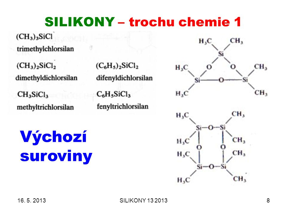 SILIKONY – trochu chemie 1 16. 5. 2013SILIKONY 13 20138 Výchozí suroviny