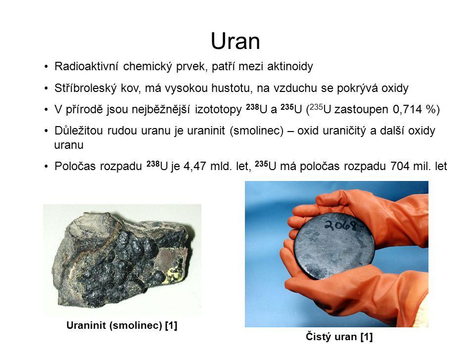 Uran Radioaktivní chemický prvek, patří mezi aktinoidy Stříbroleský kov, má vysokou hustotu, na vzduchu se pokrývá oxidy V přírodě jsou nejběžnější izototopy 238 U a 235 U ( 235 U zastoupen 0,714 %) Důležitou rudou uranu je uraninit (smolinec) – oxid uraničitý a další oxidy uranu Poločas rozpadu 238 U je 4,47 mld.