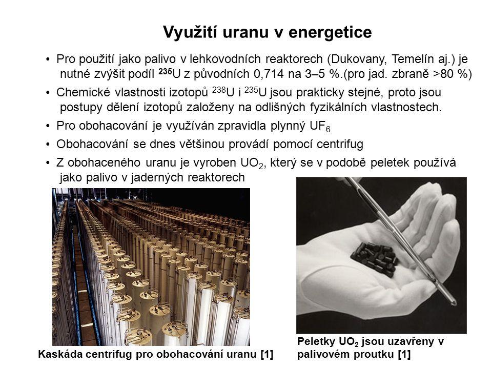 Nejaderné využití uranu Sloučeniny uranu jsou většinou toxické Sloučeniny uranu se používají k barvení skla na zelenou až žlutozelenou barvu Octan uranylu - UO 2 (CH 3 COO) 2 ·2H 2 O se používá v analytické chemii Ochuzený uran (zbaven většiny izotopu 235 U) se díky své vysoké hustotě a pevnosti používá pro výrobu protipancéřových střel, pancířů, vyvažovacích zařízení apod.