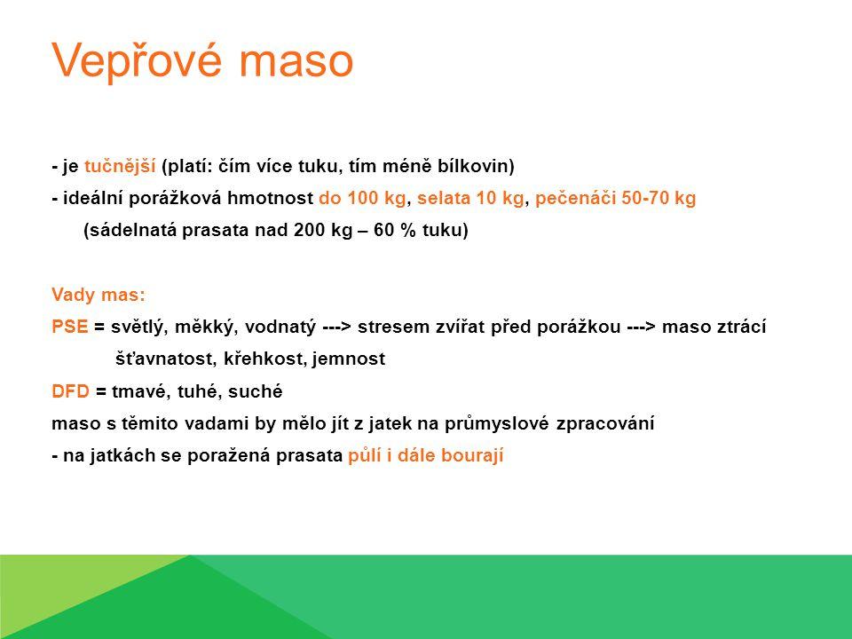 Vepřové maso - je tučnější (platí: čím více tuku, tím méně bílkovin) - ideální porážková hmotnost do 100 kg, selata 10 kg, pečenáči 50-70 kg (sádelnat