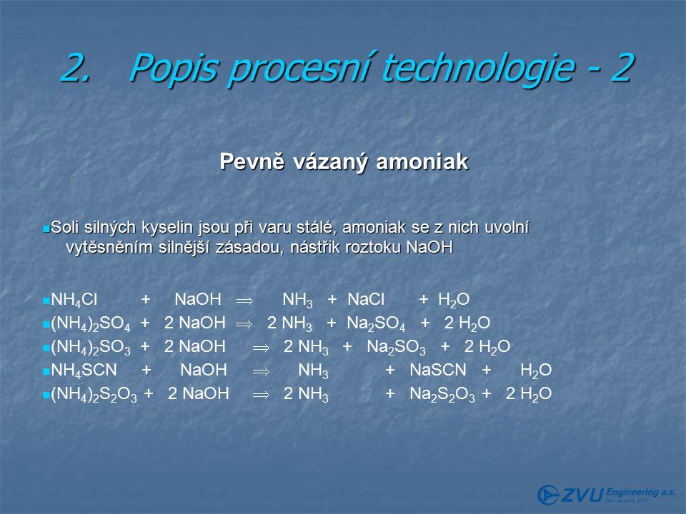 2.Popis procesní technologie - 2 Pevně vázaný amoniak Soli silných kyselin jsou při varu stálé, amoniak se z nich uvolní Soli silných kyselin jsou při varu stálé, amoniak se z nich uvolní vytěsněním silnější zásadou, nástřik roztoku NaOH vytěsněním silnější zásadou, nástřik roztoku NaOH NH 4 Cl + NaOH  NH 3 + NaCl + H 2 O (NH 4 ) 2 SO 4 + 2 NaOH  2 NH 3 + Na 2 SO 4 + 2 H 2 O (NH 4 ) 2 SO 3 + 2 NaOH  2 NH 3 + Na 2 SO 3 + 2 H 2 O NH 4 SCN + NaOH  NH 3 + NaSCN + H 2 O (NH 4 ) 2 S 2 O 3 + 2 NaOH  2 NH 3 + Na 2 S 2 O 3 + 2 H 2 O