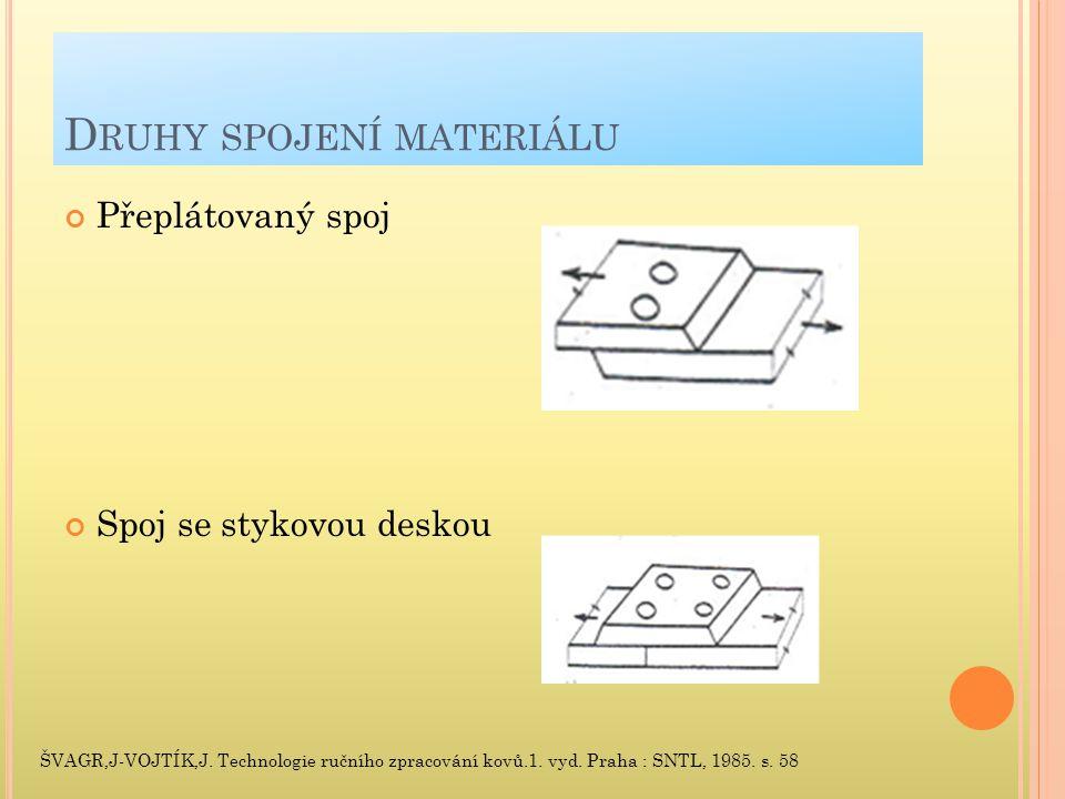 D RUHY SPOJENÍ MATERIÁLU Přeplátovaný spoj Spoj se stykovou deskou ŠVAGR,J-VOJTÍK,J.