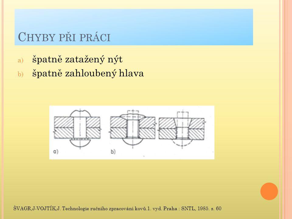 C HYBY PŘI PRÁCI a) špatně zatažený nýt b) špatně zahloubený hlava ŠVAGR,J-VOJTÍK,J.