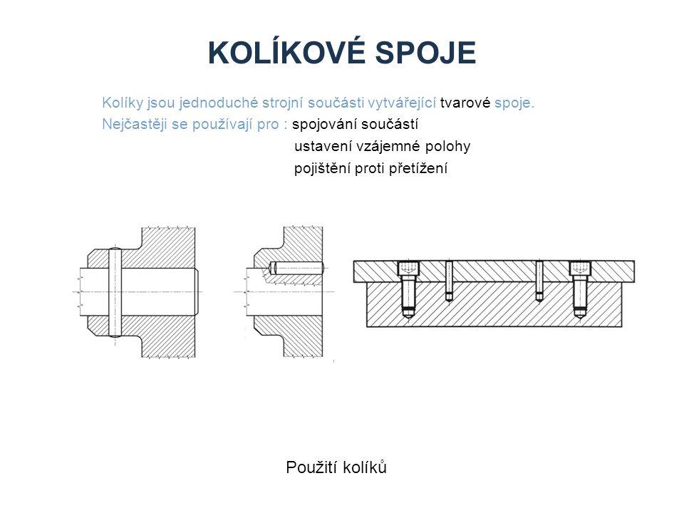 KOLÍKOVÉ SPOJE Kolíky jsou jednoduché strojní součásti vytvářející tvarové spoje. Nejčastěji se používají pro : spojování součástí ustavení vzájemné p