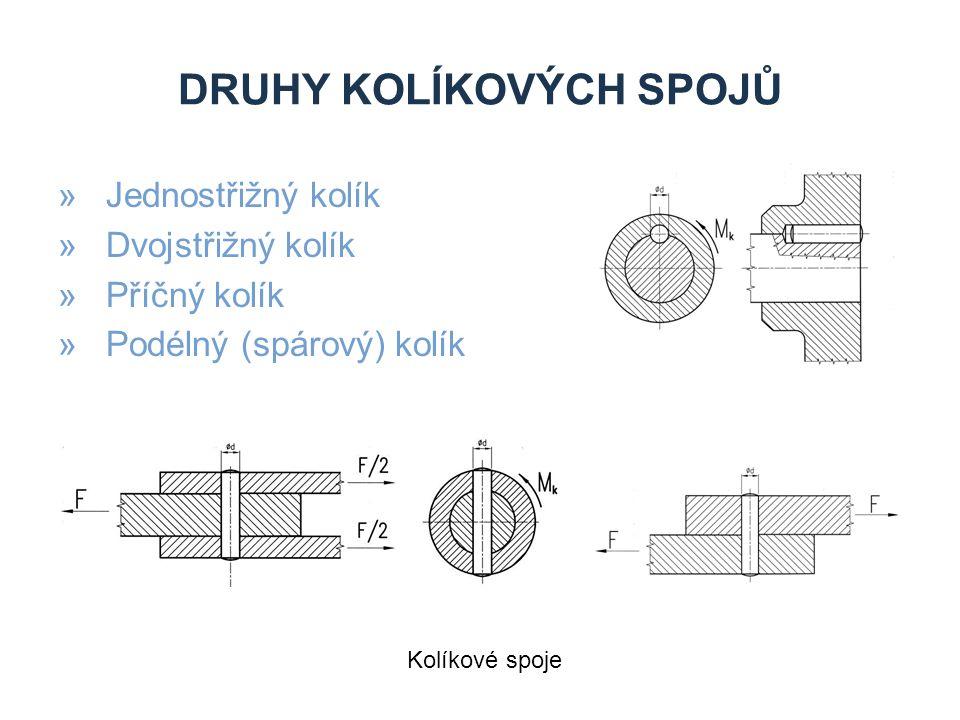 DRUHY KOLÍKOVÝCH SPOJŮ »Jednostřižný kolík »Dvojstřižný kolík »Příčný kolík »Podélný (spárový) kolík Kolíkové spoje