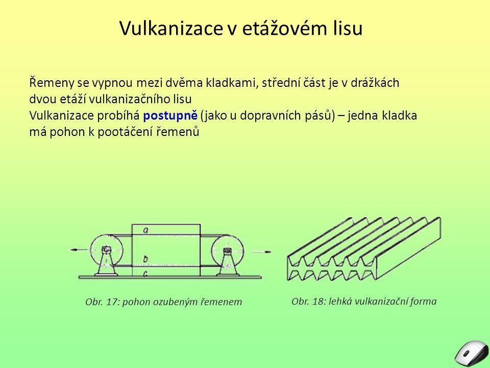 Vulkanizace v etážovém lisu Řemeny se vypnou mezi dvěma kladkami, střední část je v drážkách dvou etáží vulkanizačního lisu Vulkanizace probíhá postup