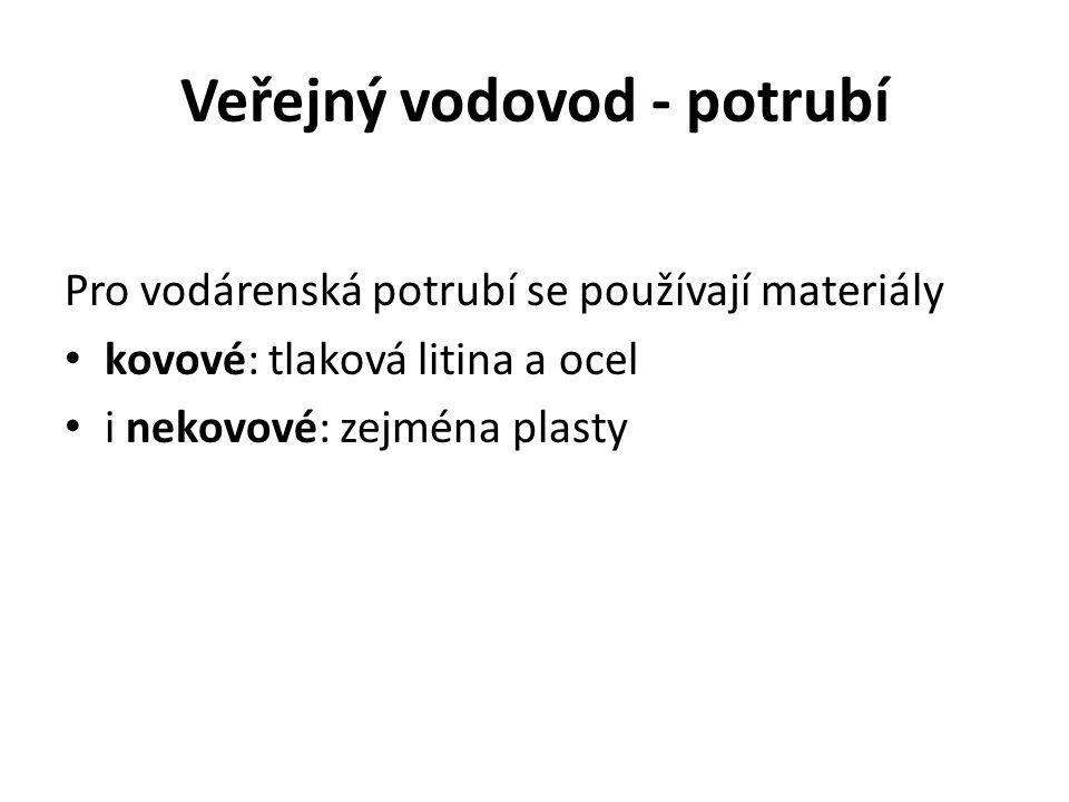 Veřejný vodovod - potrubí Pro vodárenská potrubí se používají materiály kovové: tlaková litina a ocel i nekovové: zejména plasty