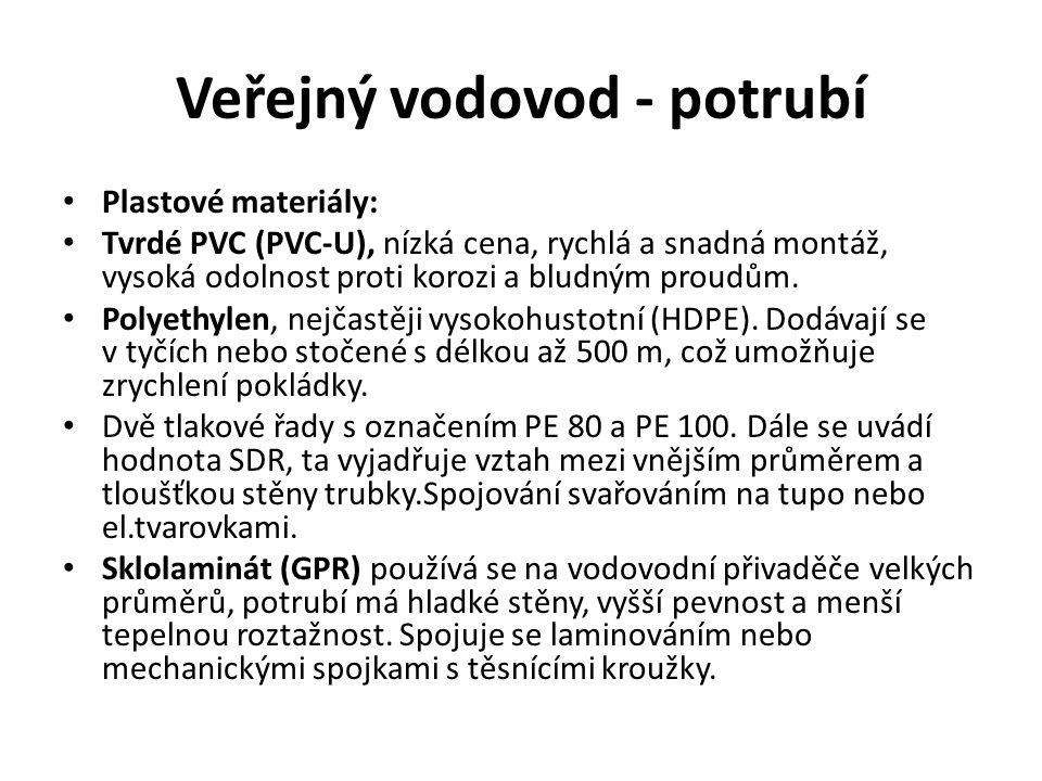 Veřejný vodovod - potrubí Plastové materiály: Tvrdé PVC (PVC-U), nízká cena, rychlá a snadná montáž, vysoká odolnost proti korozi a bludným proudům.