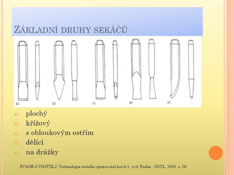 Z ÁKLADNÍ DRUHY SEKÁČŮ a) plochý b) křížový c) s obloukovým ostřím d) dělící e) na drážky ŠVAGR,J-VOJTÍK,J. Technologie ručního zpracování kovů.1. vyd