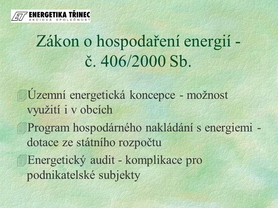 Zákon o hospodaření energií - č. 406/2000 Sb.