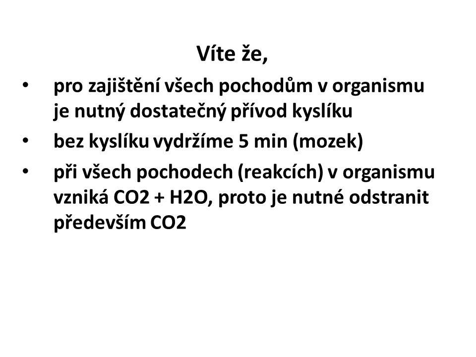 Víte že, pro zajištění všech pochodům v organismu je nutný dostatečný přívod kyslíku bez kyslíku vydržíme 5 min (mozek) při všech pochodech (reakcích) v organismu vzniká CO2 + H2O, proto je nutné odstranit především CO2