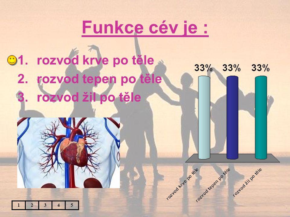 Funkce cév je : 12345 1.rozvod krve po těle 2.rozvod tepen po těle 3.rozvod žil po těle