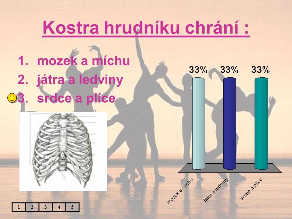 Kostra hrudníku chrání : 12345 1.mozek a míchu 2.játra a ledviny 3.srdce a plíce