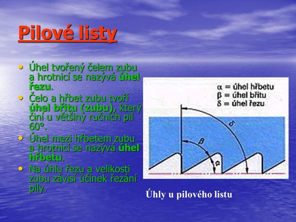 Pilové listy Pilové listy jsou vyráběny z tvrzené nástrojové oceli.