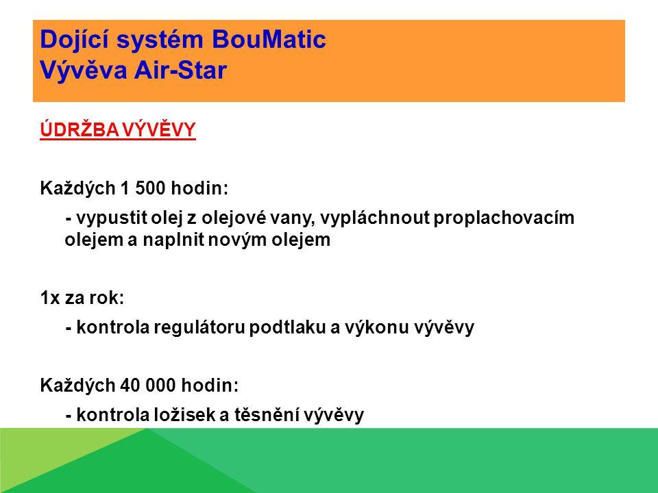 Dojící systém BouMatic Vývěva Air-Star ÚDRŽBA VÝVĚVY Každých 1 500 hodin: - vypustit olej z olejové vany, vypláchnout proplachovacím olejem a naplnit novým olejem 1x za rok: - kontrola regulátoru podtlaku a výkonu vývěvy Každých 40 000 hodin: - kontrola ložisek a těsnění vývěvy