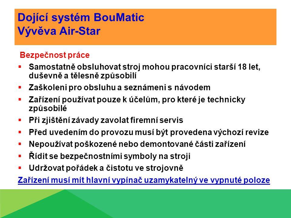 Dojící systém BouMatic Vývěva Air-Star Bezpečnost práce  Samostatně obsluhovat stroj mohou pracovníci starší 18 let, duševně a tělesně způsobilí  Zaškoleni pro obsluhu a seznámeni s návodem  Zařízení používat pouze k účelům, pro které je technicky způsobilé  Při zjištění závady zavolat firemní servis  Před uvedením do provozu musí být provedena výchozí revize  Nepoužívat poškozené nebo demontované části zařízení  Řídit se bezpečnostními symboly na stroji  Udržovat pořádek a čistotu ve strojovně Zařízení musí mít hlavní vypínač uzamykatelný ve vypnuté poloze