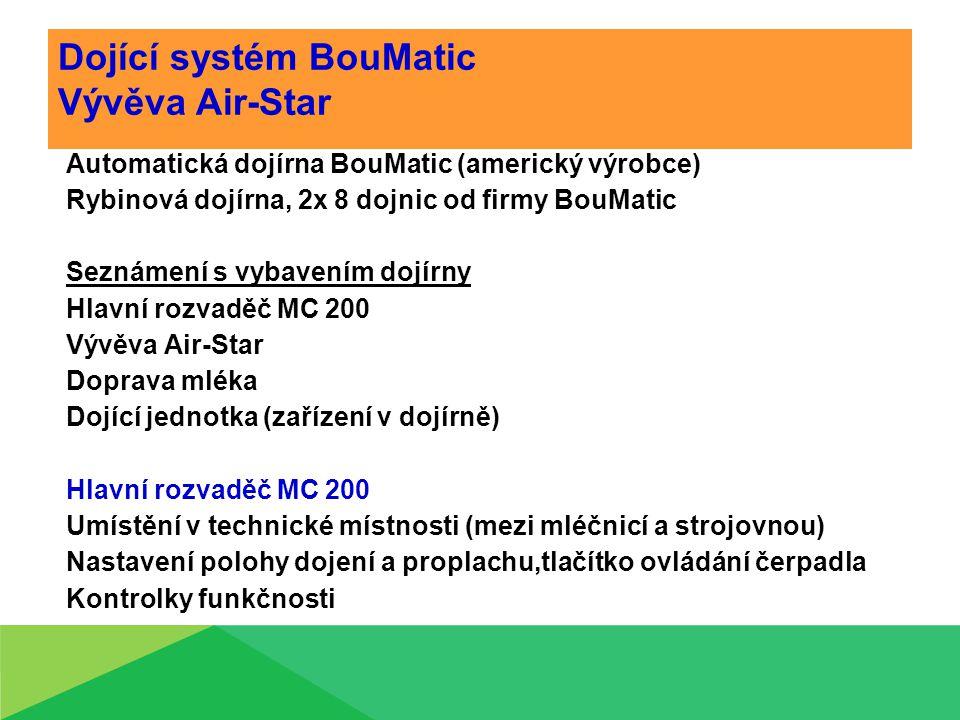 Dojící systém BouMatic Vývěva Air-Star Automatická dojírna BouMatic (americký výrobce) Rybinová dojírna, 2x 8 dojnic od firmy BouMatic Seznámení s vybavením dojírny Hlavní rozvaděč MC 200 Vývěva Air-Star Doprava mléka Dojící jednotka (zařízení v dojírně) Hlavní rozvaděč MC 200 Umístění v technické místnosti (mezi mléčnicí a strojovnou) Nastavení polohy dojení a proplachu,tlačítko ovládání čerpadla Kontrolky funkčnosti