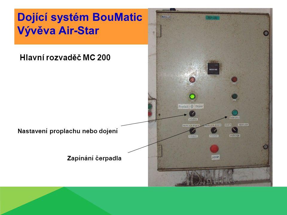 Dojící systém BouMatic Vývěva Air-Star Hlavní rozvaděč MC 200 Nastavení proplachu nebo dojení Zapínání čerpadla