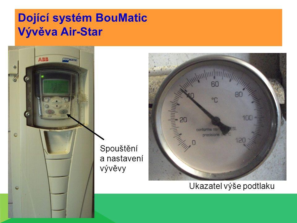 Dojící systém BouMatic Vývěva Air-Star Ukazatel výše podtlaku Spouštění a nastavení vývěvy