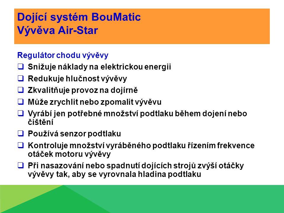 Dojící systém BouMatic Vývěva Air-Star Regulátor chodu vývěvy  Snižuje náklady na elektrickou energii  Redukuje hlučnost vývěvy  Zkvalitňuje provoz na dojírně  Může zrychlit nebo zpomalit vývěvu  Vyrábí jen potřebné množství podtlaku během dojení nebo čištění  Používá senzor podtlaku  Kontroluje množství vyráběného podtlaku řízením frekvence otáček motoru vývěvy  Při nasazování nebo spadnutí dojících strojů zvýší otáčky vývěvy tak, aby se vyrovnala hladina podtlaku