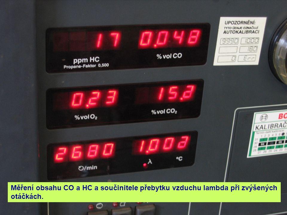 Měření obsahu CO a HC a součinitele přebytku vzduchu lambda při zvýšených otáčkách.