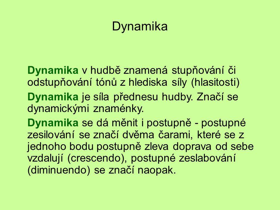 Dynamika Dynamika v hudbě znamená stupňování či odstupňování tónů z hlediska síly (hlasitosti) Dynamika je síla přednesu hudby.