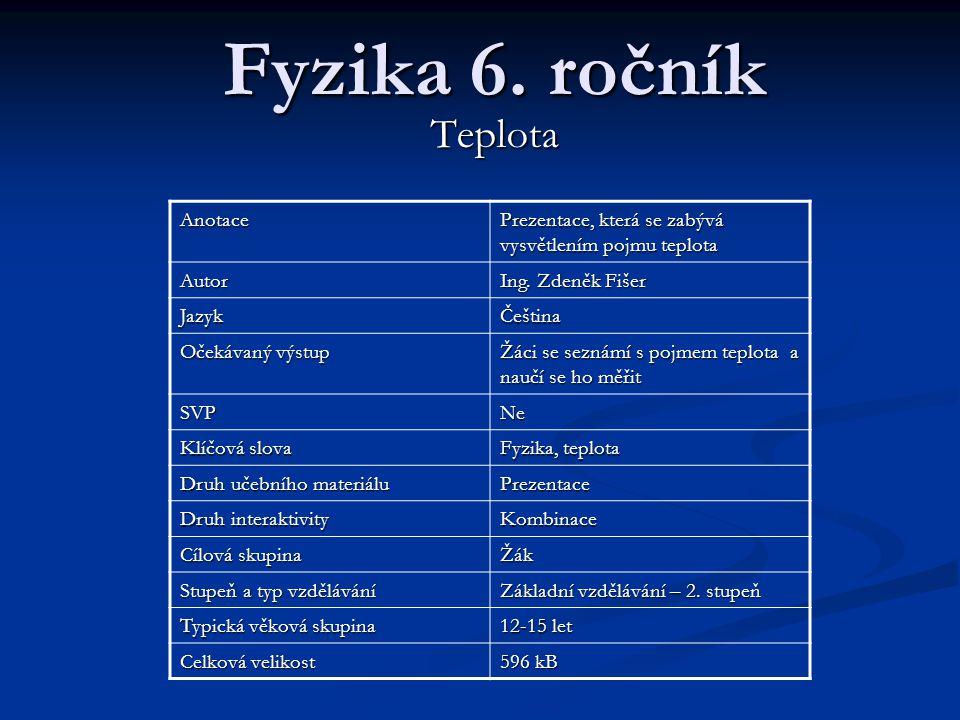 Teplota a její měření Fyzika 6. ročník