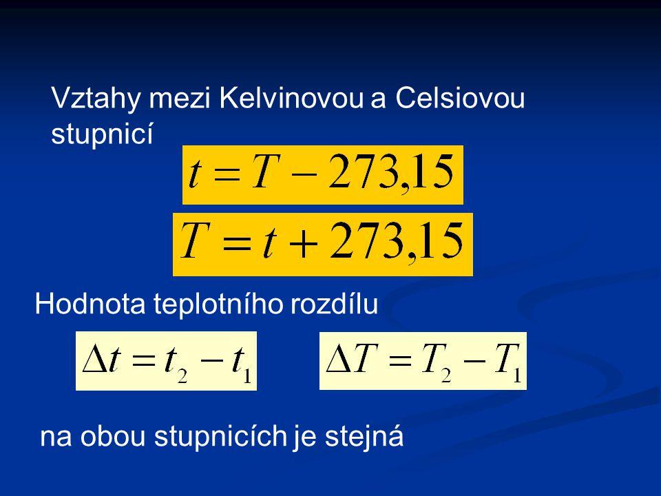 Vztahy mezi Kelvinovou a Celsiovou stupnicí Hodnota teplotního rozdílu na obou stupnicích je stejná