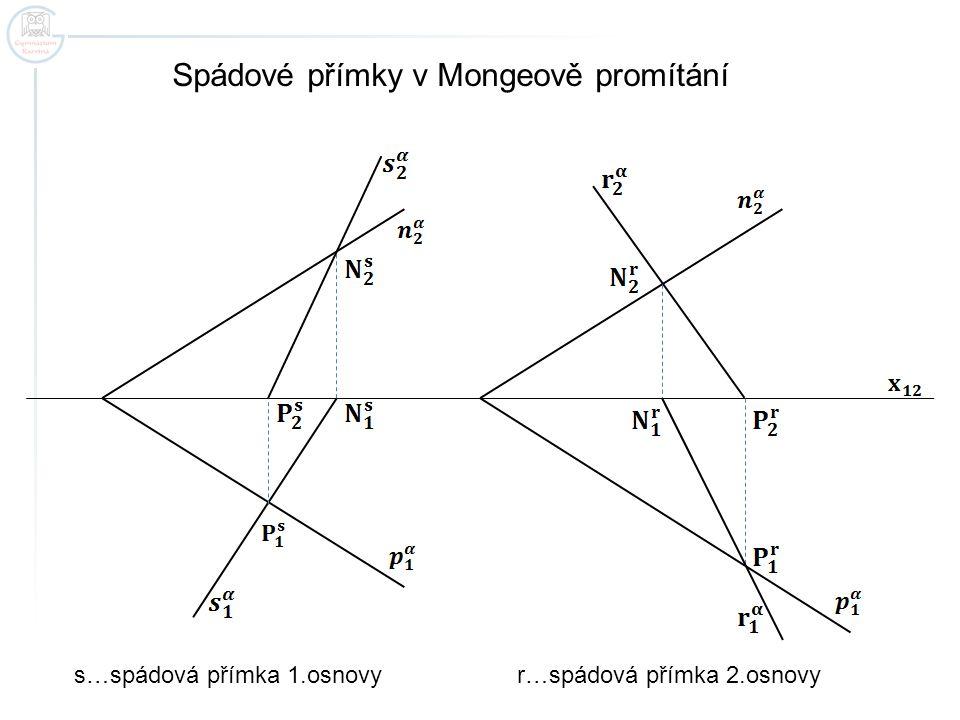 Spádové přímky v Mongeově promítání s…spádová přímka 1.osnovy r…spádová přímka 2.osnovy
