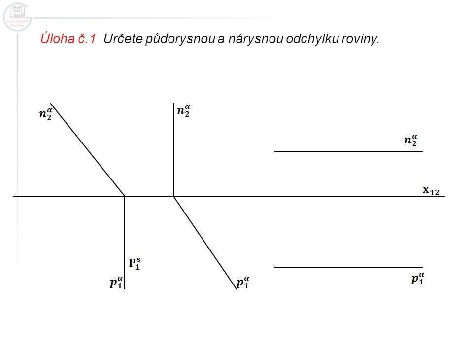 Úloha č.1 Určete půdorysnou a nárysnou odchylku roviny.
