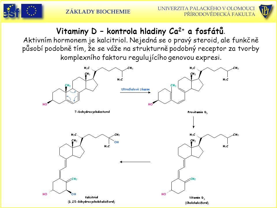 Vitaminy D – kontrola hladiny Ca 2+ a fosfátů. Aktivním hormonem je kalcitriol. Nejedná se o pravý steroid, ale funkčně působí podobně tím, že se váže