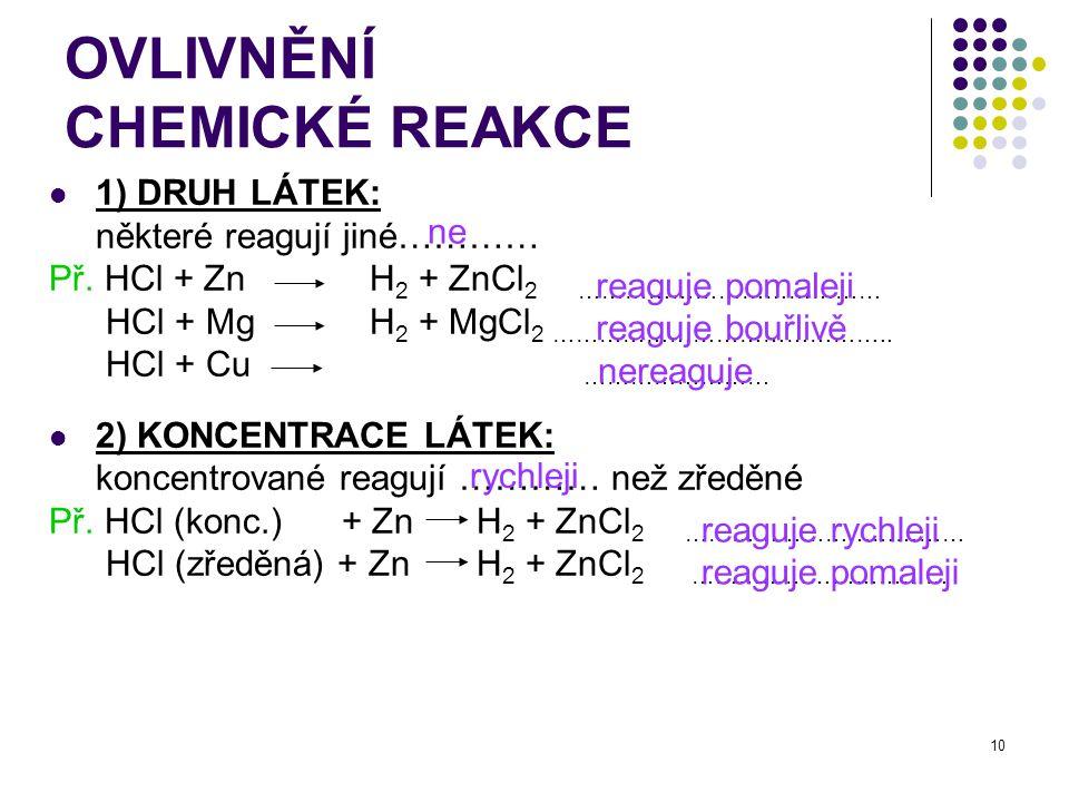 10 OVLIVNĚNÍ CHEMICKÉ REAKCE 1) DRUH LÁTEK: některé reagují jiné………… Př. HCl + Zn H 2 + ZnCl 2 ………………………………… HCl + Mg H 2 + MgCl 2 …………………………………….. HC