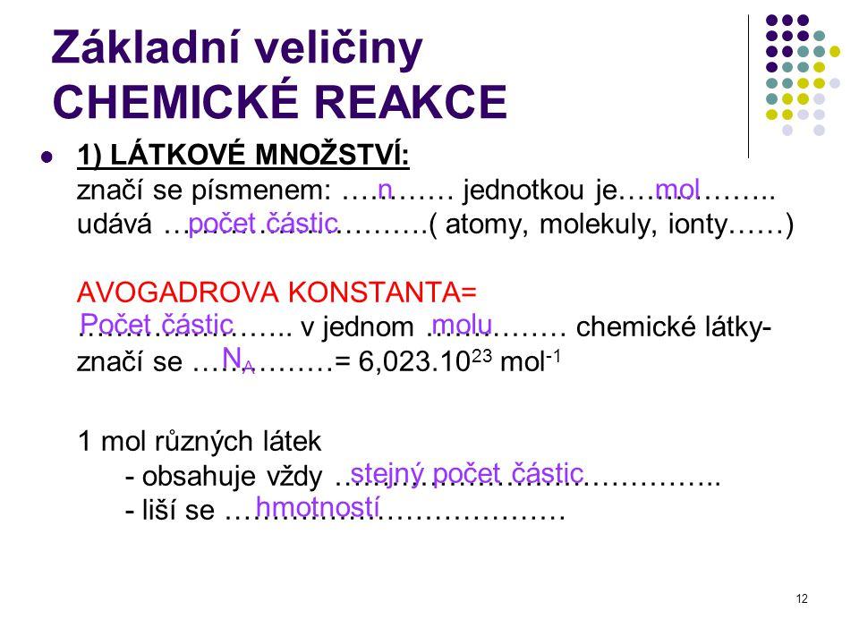 12 Základní veličiny CHEMICKÉ REAKCE 1) LÁTKOVÉ MNOŽSTVÍ: značí se písmenem: ………… jednotkou je…………….. udává ……………………….( atomy, molekuly, ionty……) AVOG