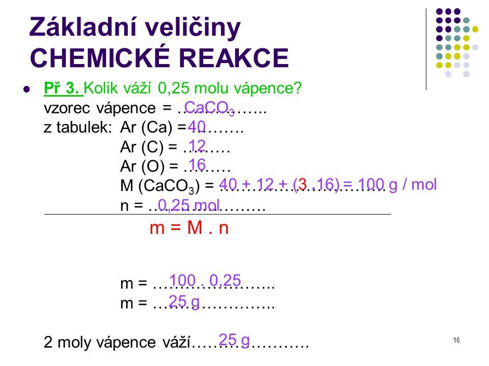 16 Základní veličiny CHEMICKÉ REAKCE Př 3. Kolik váží 0,25 molu vápence? vzorec vápence = …………….. z tabulek: Ar (Ca) = ………. Ar (C) = ……… Ar (O) = ………